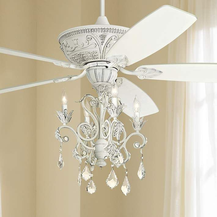 "Unique Ceiling Fans With Chandeliers: 60"" Casa Montego Rubbed White Chandelier Ceiling Fan"