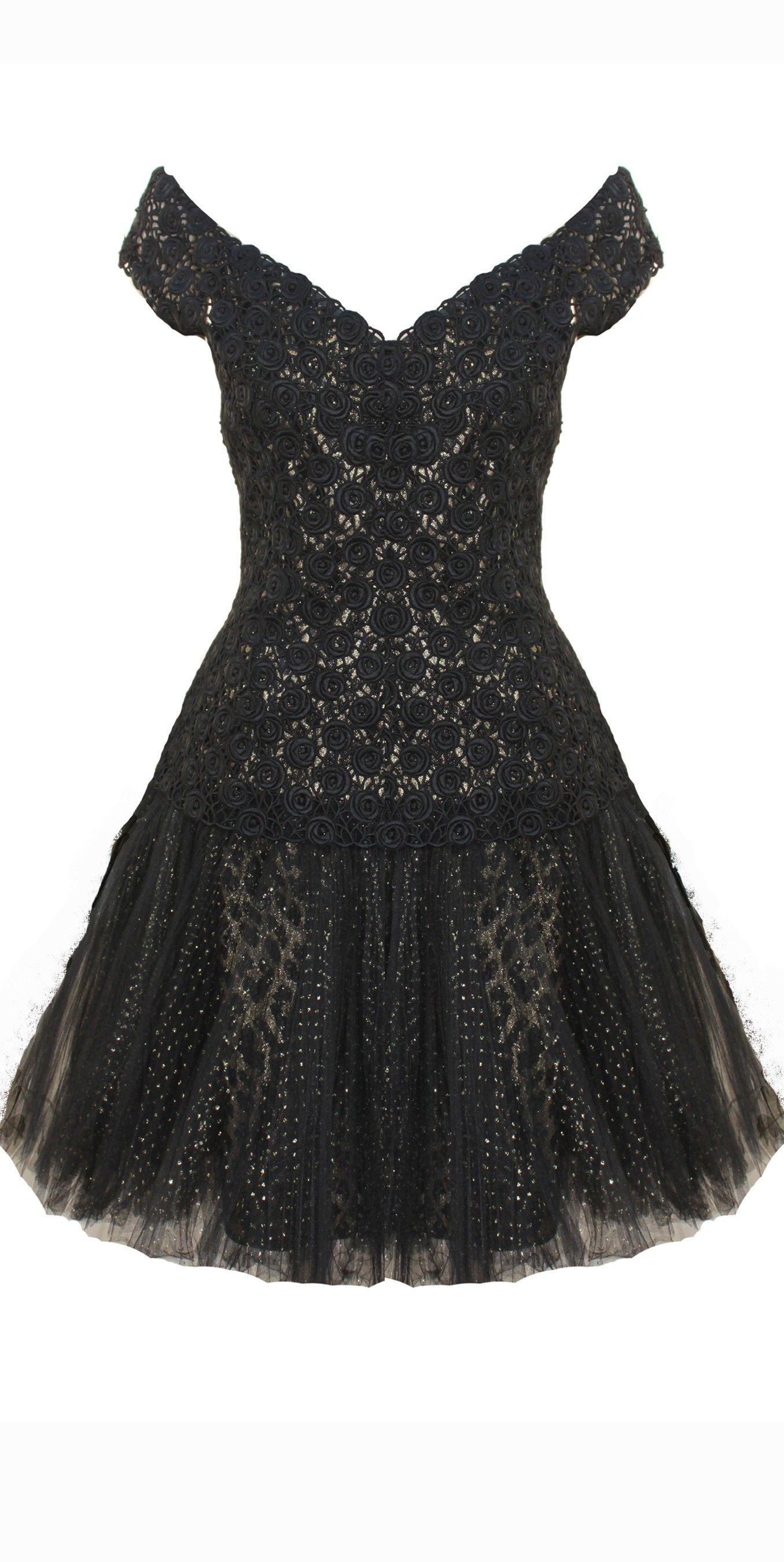 Vintage aline scallopededge kneelength s lace black prom