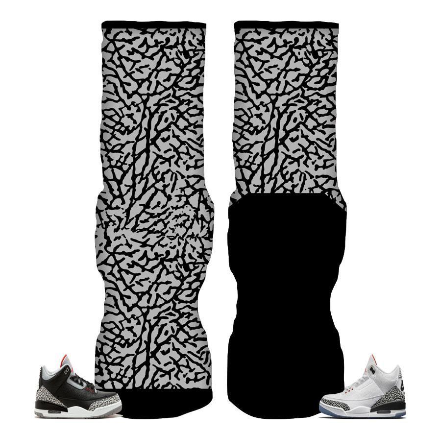 f49952b49cf61 Jordan 3 Black Cement Socks - Elephant Print