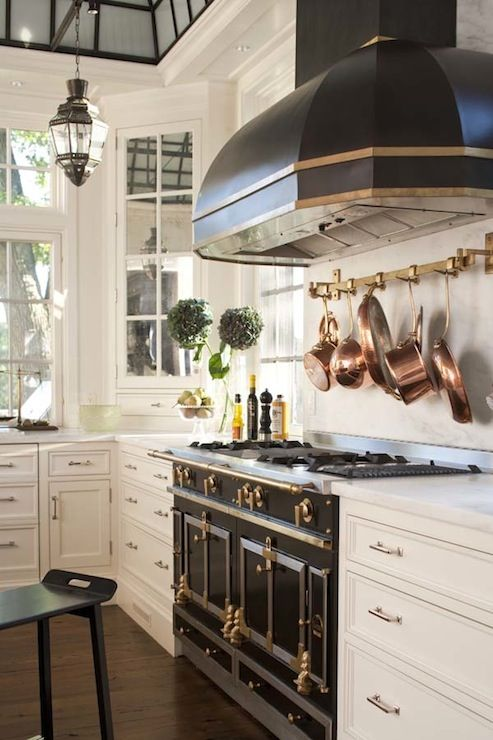 Amazing Kitchen With La Cornue Cornufe Range In Glossy Black And