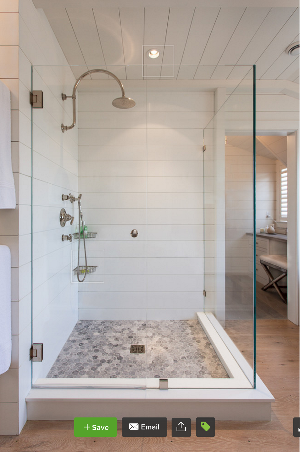 Shiplap Shower... Link: http://www.houzz.com