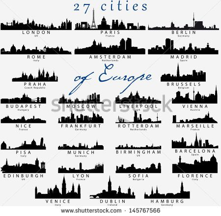 Set Of Detailed Vector Silhouettes Of European Cities City Silhouette City Outline Silhouette