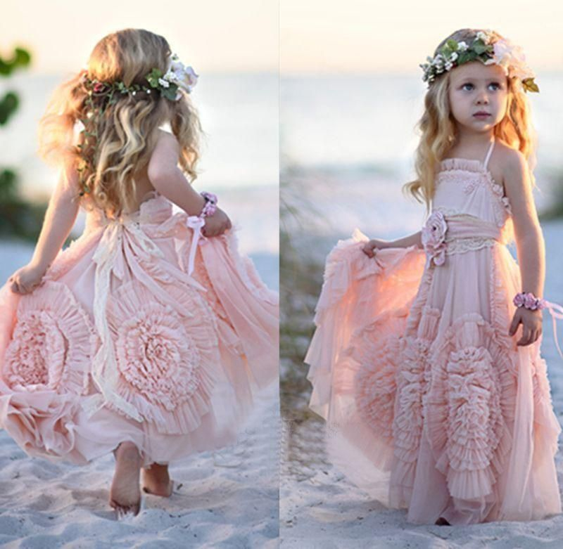 Pink Halter Little Girls Party Dresses 2016 Chiffon Ruffles Flower Girl For Beach Wedding Floor Length Pageant Gowns With Flowers