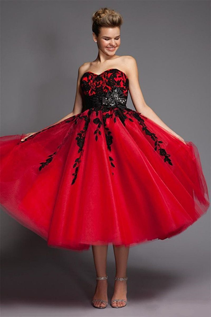Click To Buy Black And Red Gothic Wedding Dresses Short A Line Sweetheart Corset Back Vintage In Short Bridal Gown Informal Wedding Gowns Lace Ball Gowns