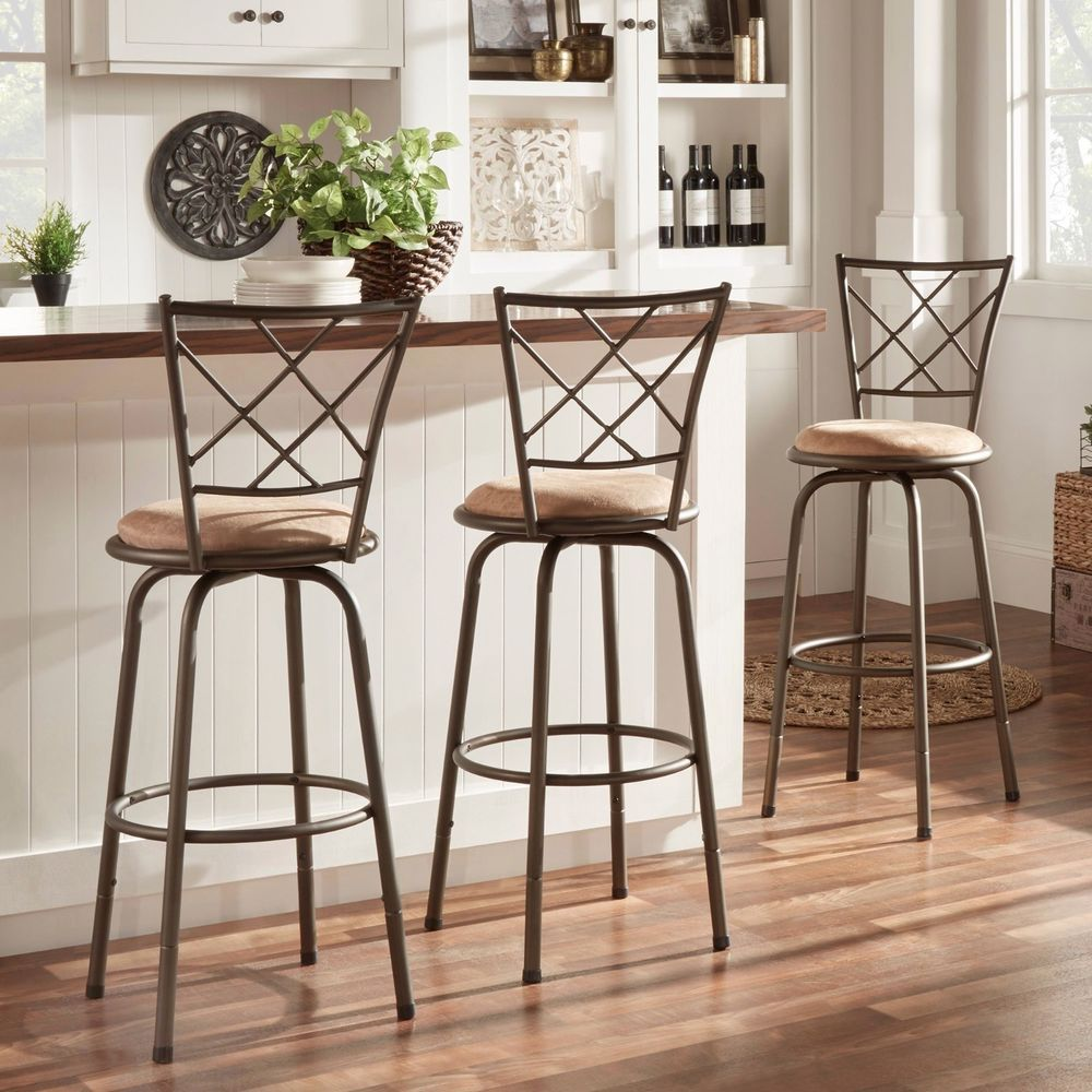 Kitchen Counter Stool Set Of 3 Adjustable Height Swivel Bar Den Padded Seating Bar Stools Swivel Bar Stools Bar Furniture
