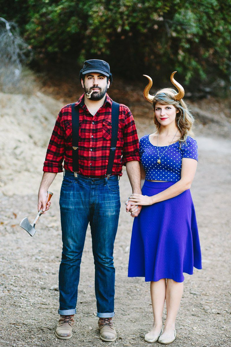 halloween couples costume idea paul bunyan and babe the blue ox