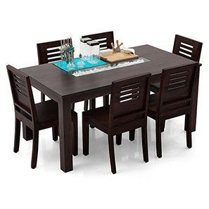 Brighton Capra 6 Seater Dining Table Set Mahogany Finish 6
