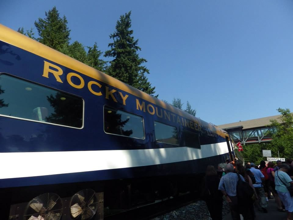 Boarding the Rocky Mountaineer at Whistler Train Station, British Columbia, Canada, Summer Holidays, August, 2014.