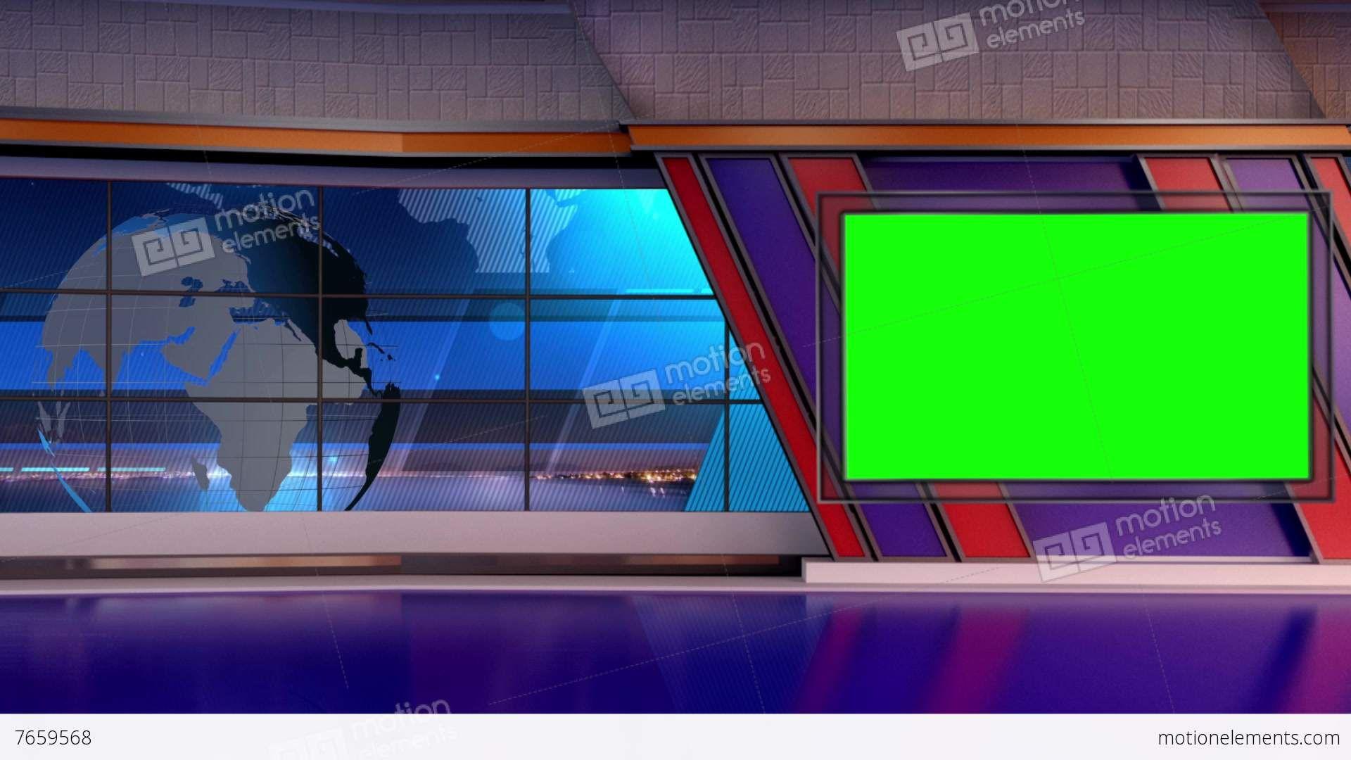 Me7659568 News Tv Studio Set Virtual Green Screen