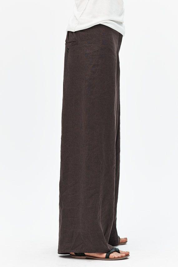 Brown Linen Pants/ Extravagant Drop Crotch Chocolate by AryaSense