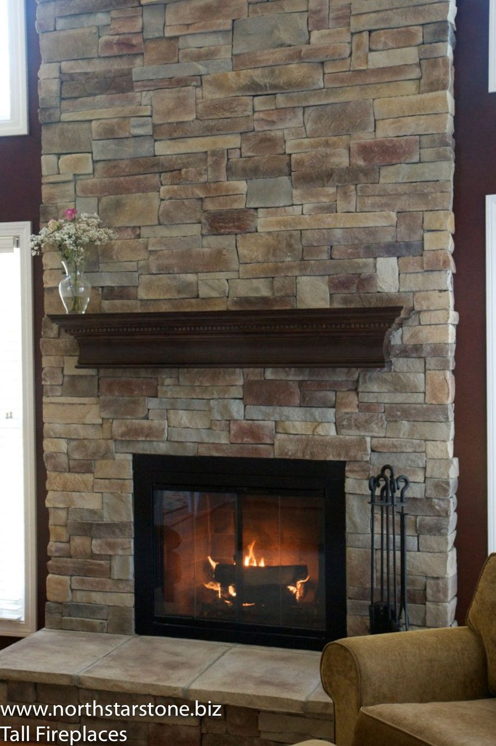 Mountain Stack Stone Installed Directly Over A Two Story Brick Fireplace The Installation Was Done W Brick Fireplace Makeover Home Fireplace Fireplace Remodel
