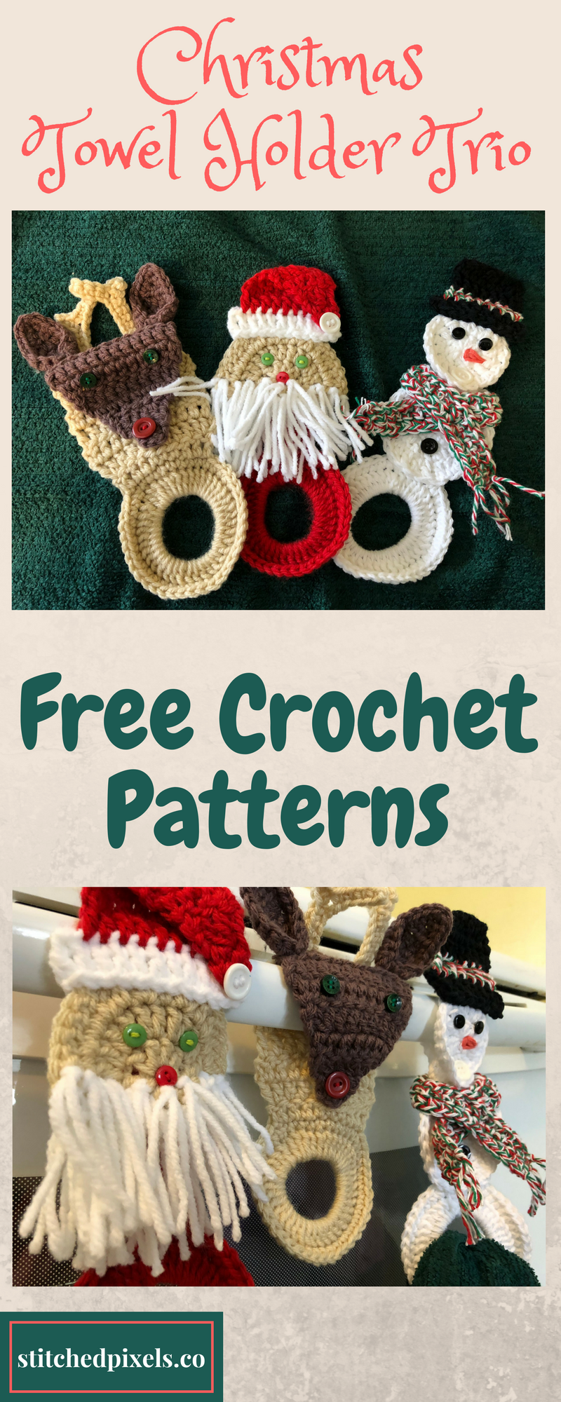 Use this free crochet pattern to make your own Reindeer Towel Holder ...