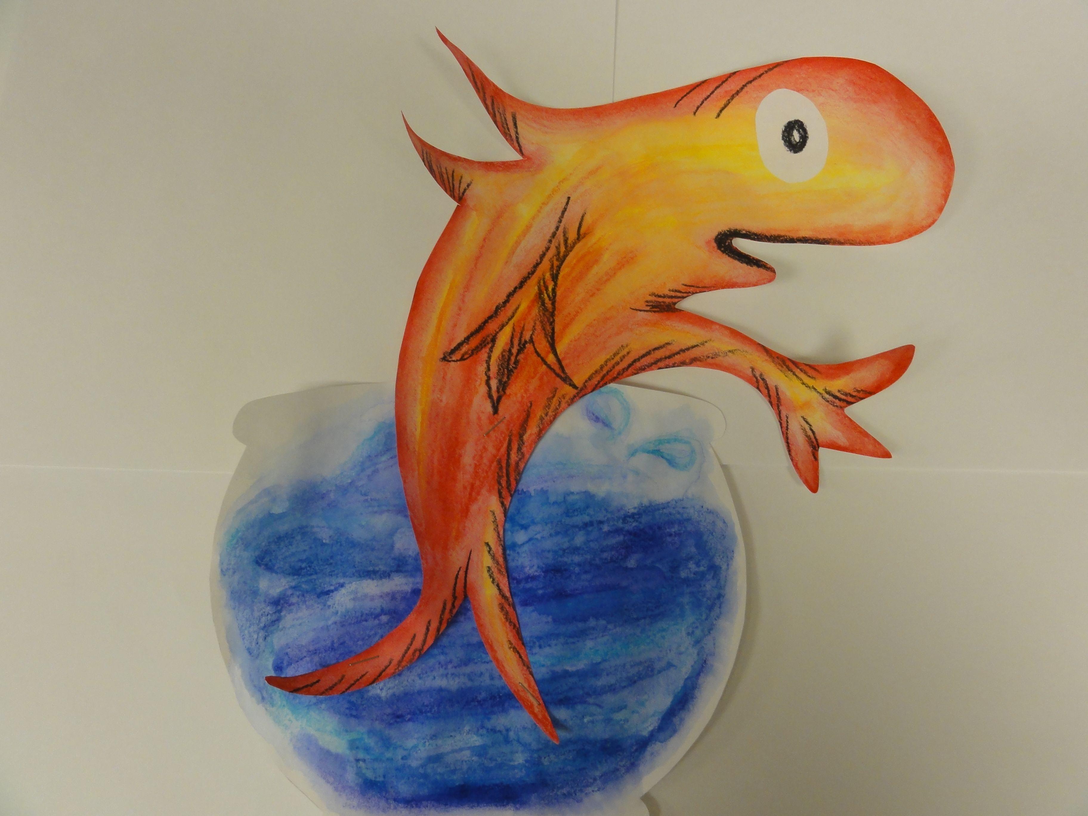 Dr seuss fishkcheh watercolor crayons art project