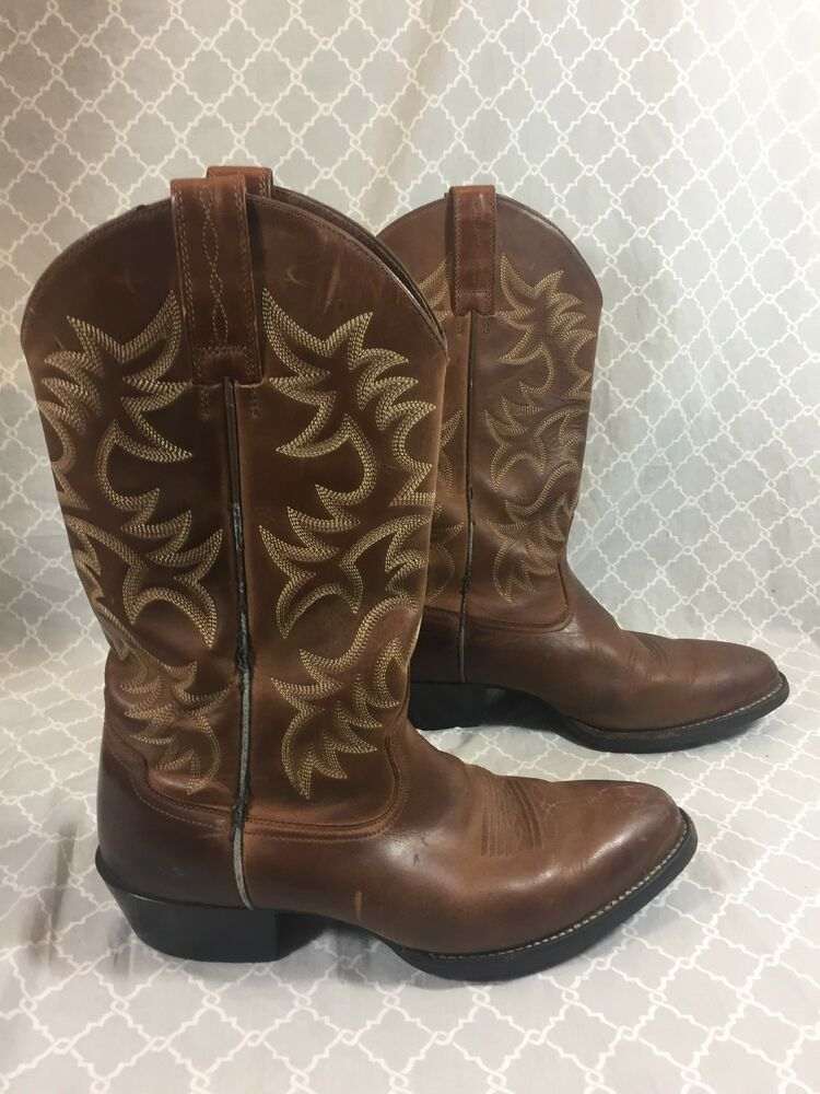 6905e4c80ec ARIAT Brown Leather Boots Western Men's 10 D ATS Equipped Pointed ...