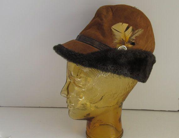 Alpine Hat Suede and Leather Winter Hat Robin Hood Hat Wonderful Quality  Alpine German Hat Brown thick suede Leather and Hand tooled Leather 63e593fd51f