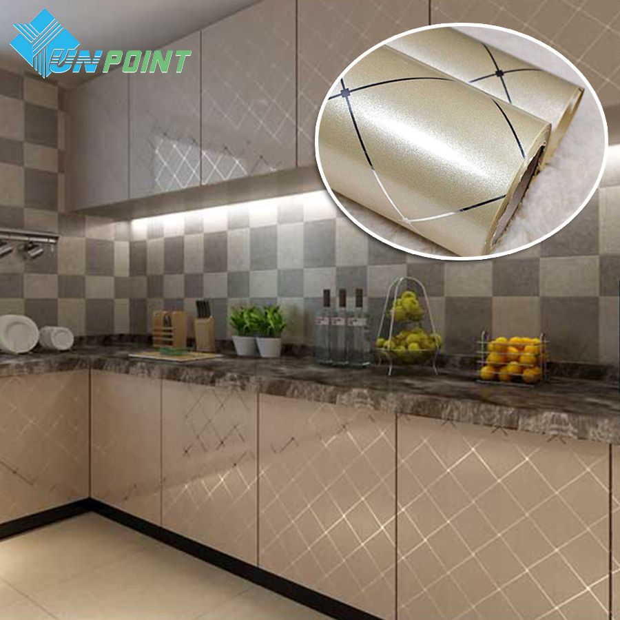 60cmx5m Pvc Waterproof Self Adhesive Film Gold Grid Silver Line Vinyl Wallpaper Kitchen Ca Wallpaper For Kitchen Cabinets Kitchen Wallpaper Wallpaper Furniture