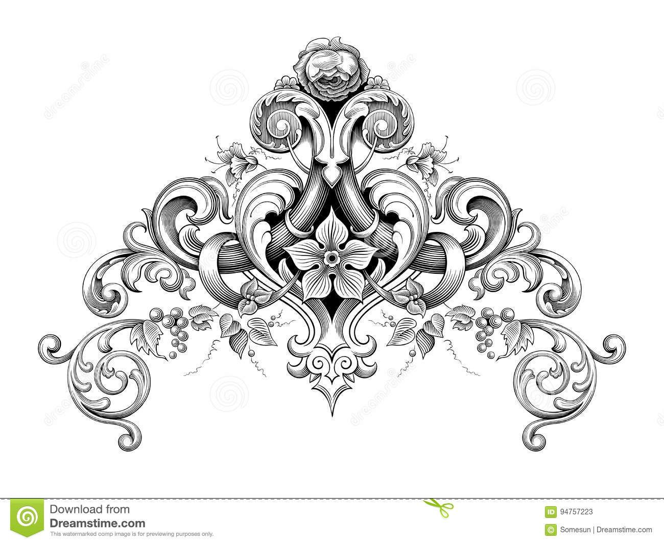 vintage frame tattoo designs. Vintage Baroque Victorian Frame Border Corner Monogram Floral Ornament Scroll Engraved Pattern Tattoo Calligraphic Vector Heraldi Designs E