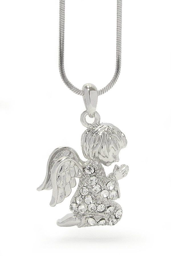 Crystal Praying Guardian Angel Pendant Necklace White Gold Plated