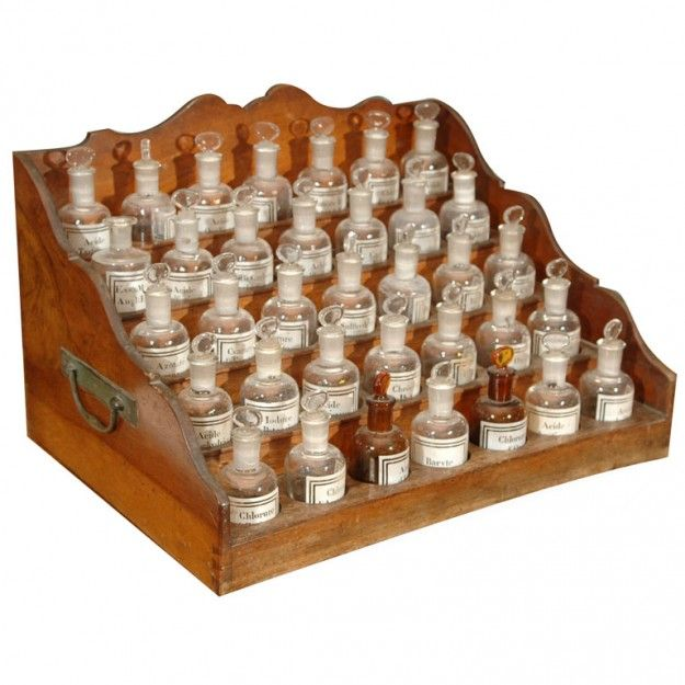 $500 5000, B Gover Limited   French Apothecary Cabinet With Small Pharmacy  Bottles Added To 1stDibs