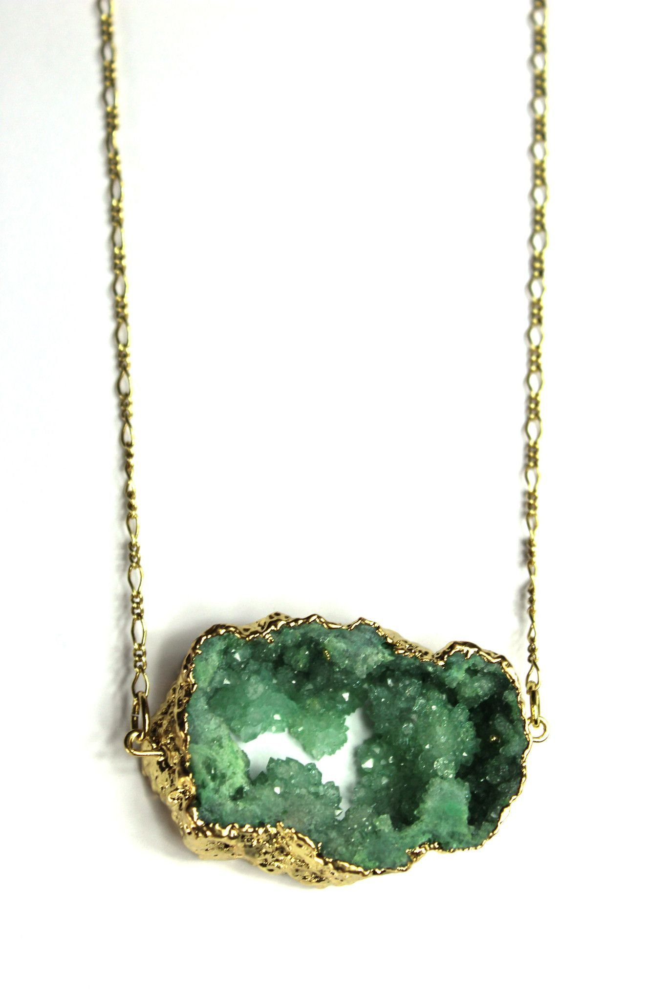 Green Druzy Necklace Handmade Jewelry