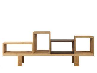 Libreria a giorno bifacciale componibile in legno impiallacciato