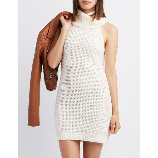 8635df218f21 Charlotte Russe Turtleneck Sweater Dress ($27) ❤ liked on Polyvore  featuring dresses, ivory, sleeveless turtleneck, white sweater dress, white  dress, ...