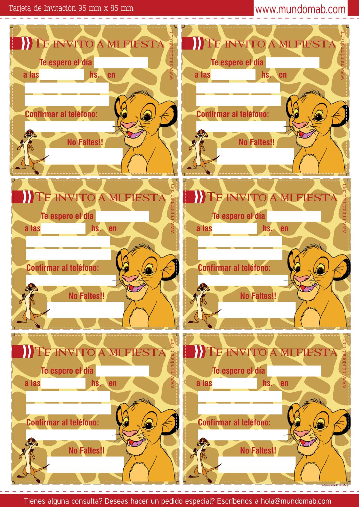 Kit para imprimir gratis de Simba El Rey León. Incluye Tarjeta de ...
