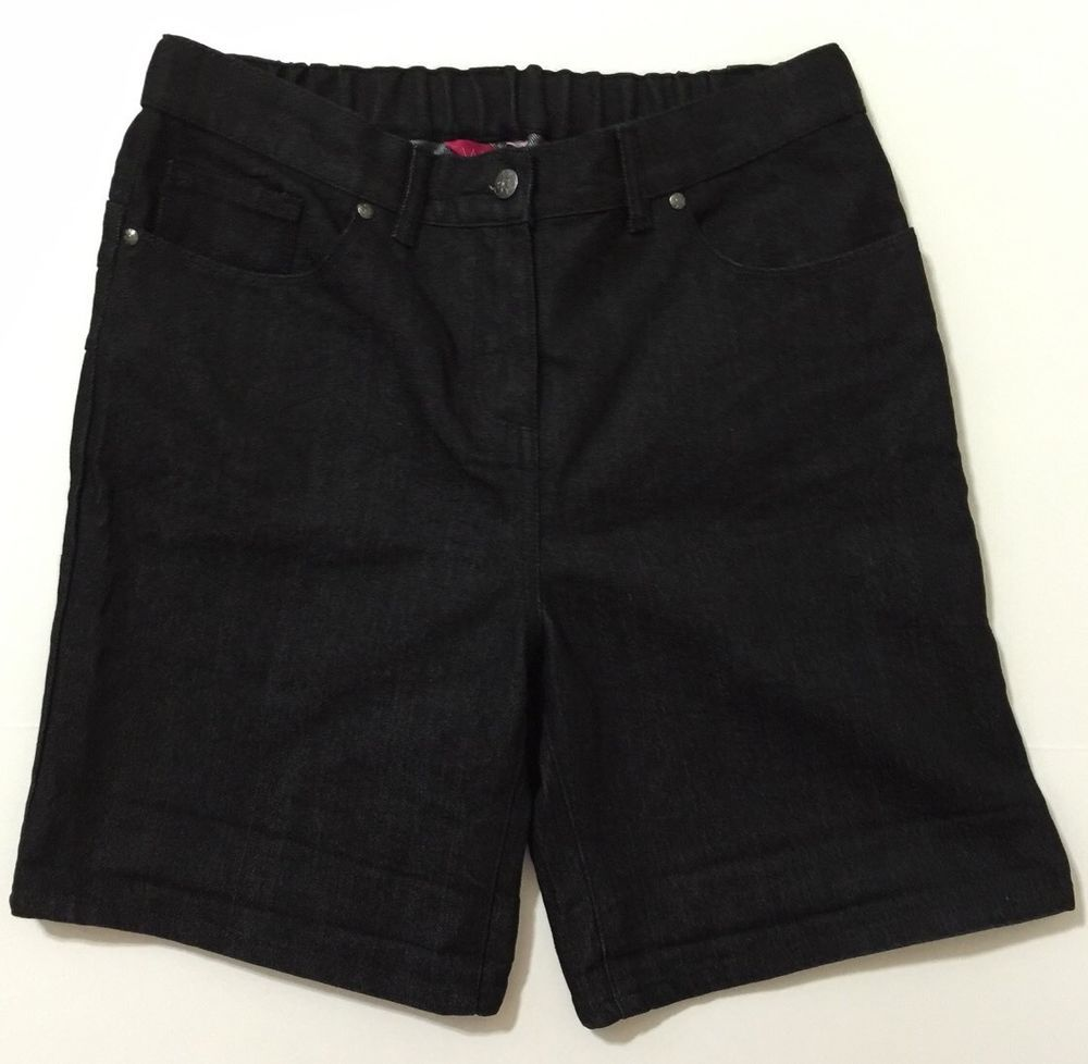 Truly WOW Women's Black Denim Shorts With Elastic Waist Panel Size 12 NWT #TrulyWOW #Denim