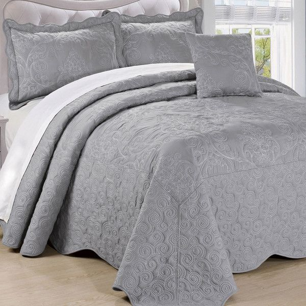 Damask 4 Piece Quilt Bed Spread Set | For the Home | Pinterest ... : spread quilts - Adamdwight.com