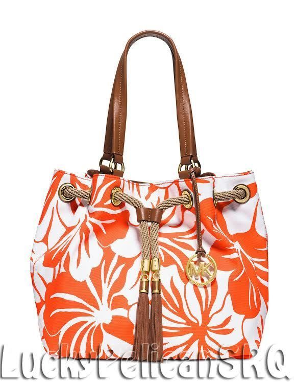 414778bca5e5db Michael Kors Marina Large Gathered Tote Shoulder Bag Clementine Orange NWT # MichaelKors #ShoulderBag