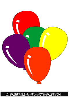 picture relating to Balloons Printable titled Free of charge Printable Vibrant Balloons Image Booth Props Cost-free