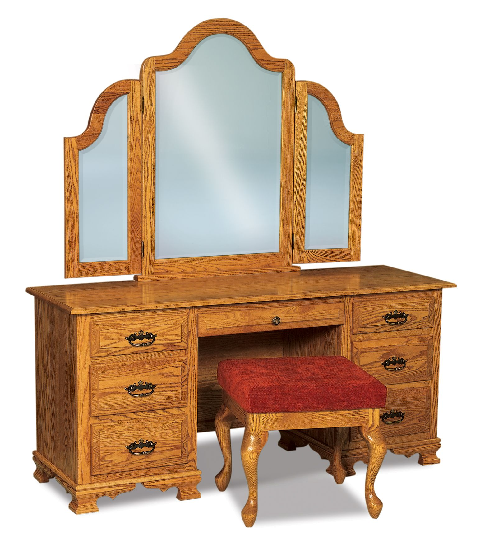 The hoosier heritage drawer vanity dresser is shown with its