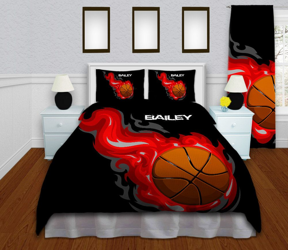 Basketball Bedding For Boys Or Girls Boys Bedding Set Twin Queen Full King Red Flames Personalized Duvet Cover Sports Dorm Twin Xl 145 Soccer Bedding Girls Soccer Bedding Sports Bedding