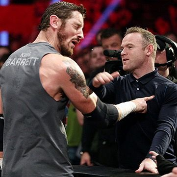 @manchesterunited Captain @waynerooney had seen enough of King @wadebarrett tonight at #Raw in Manchester, UK!
