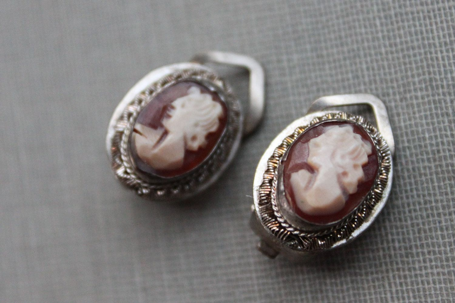 Antique Carved Cameo Earrings