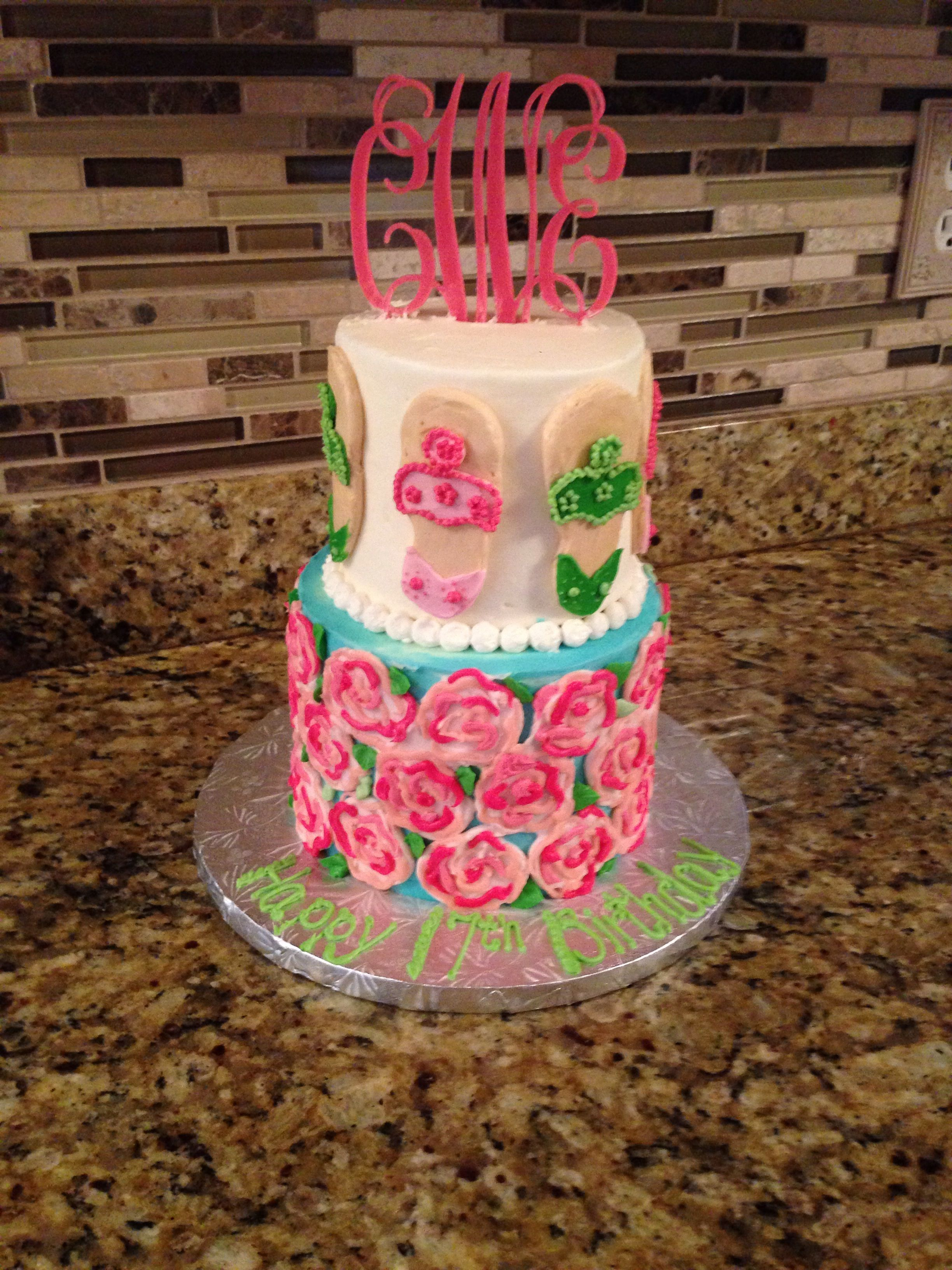 Lilly Pulitzer And Jack Rogers Cake Cute Pinterest Jack - Monogram birthday cakes