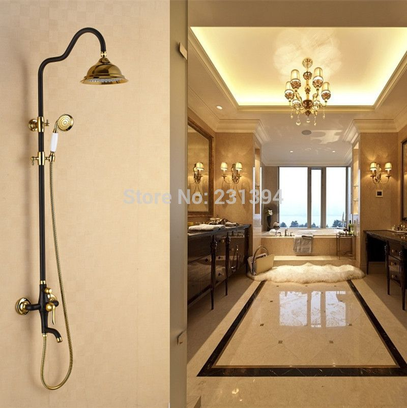 Antique European court style Mixed shower faucet sets Brass Black ...