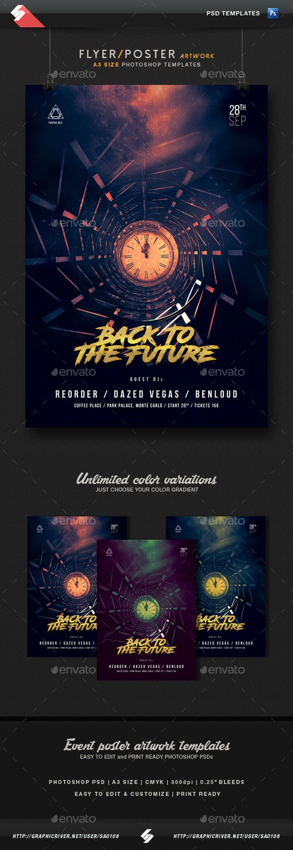 Back To The Future - Party Flyer / Poster Template A3 | Diseño de ...