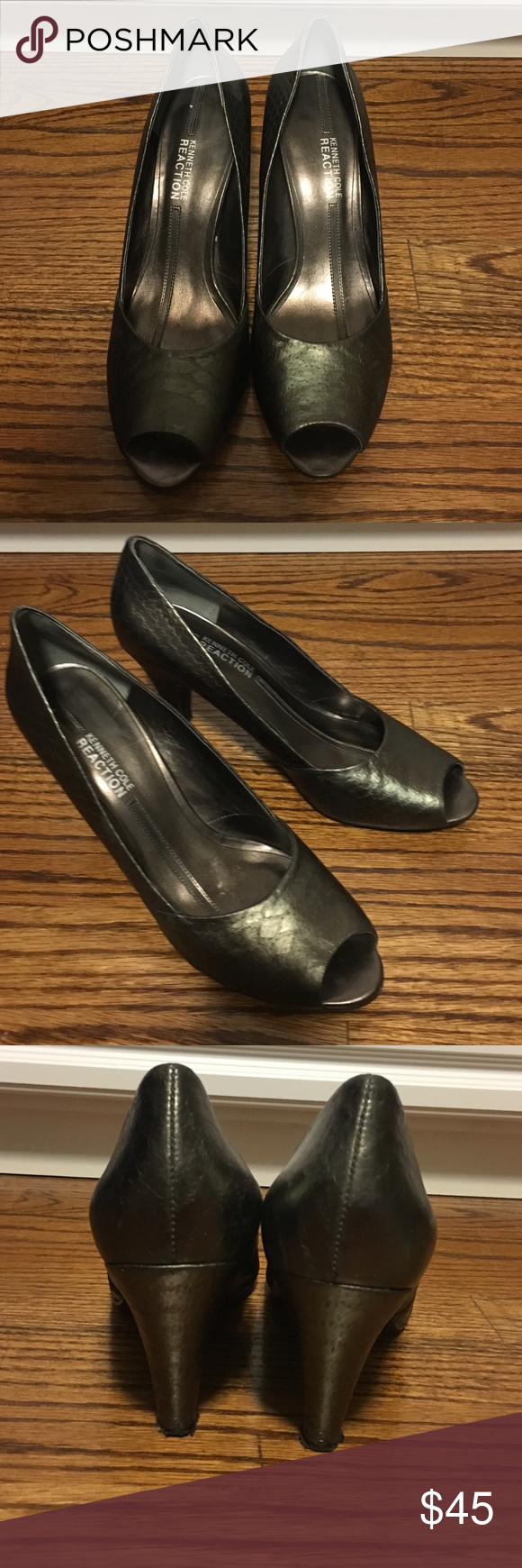 Kenneth Cole Reaction high heels Kenneth Cole peep toes high heels. Shiny grey. Size 9.5 Kenneth Cole Reaction Shoes Heels