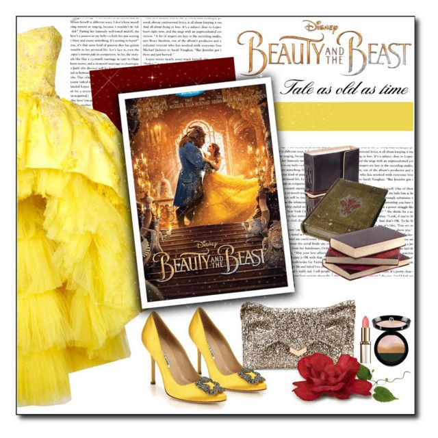 """""""Tale as old as time"""" by polybaby ❤ liked on Polyvore featuring Mikael D, Disney, Jimmy Choo, Manolo Blahnik, Giorgio Armani, BeautyandtheBeast and contestentry"""