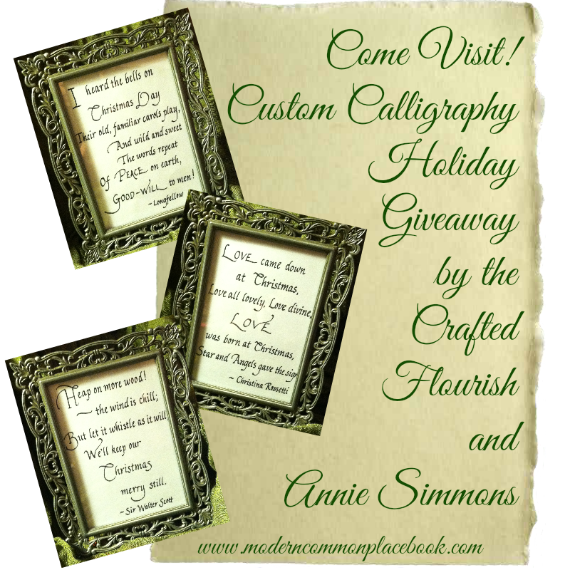 My talented friends Ginny and Annie are teaming up for a giveaway! Check it out! The Crafted Flourish and Custom Calligraphy Giveaway www.moderncommonplacebook.com