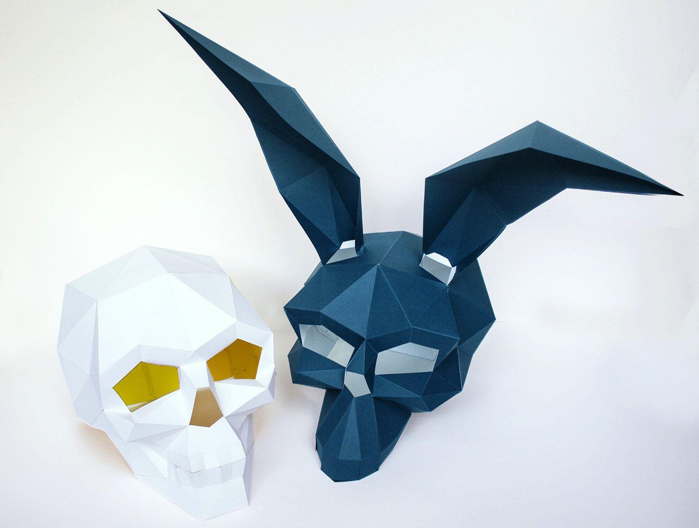 Skull Masks for Halloween, Printable Mask, DIY New Year Mask ...