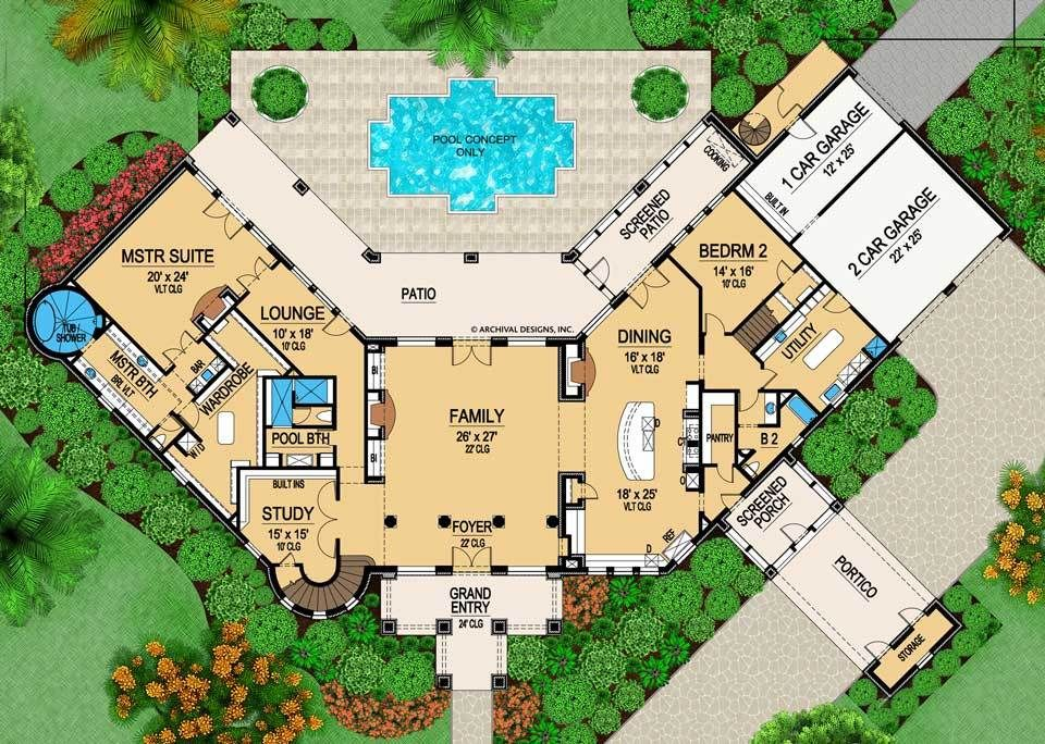 Wynnchester House Plan Castle House Plans Pool House Plans U Shaped Houses