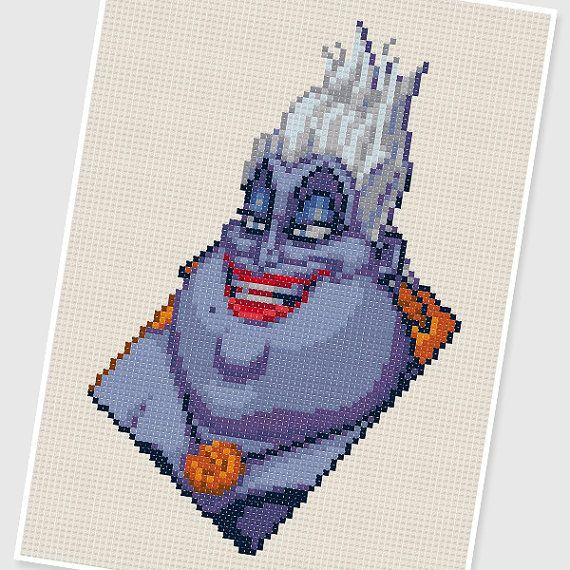 PDF Cross Stitch pattern - 0212.Ursula ( The Little Mermaid ) - INSTANT DOWNLOAD