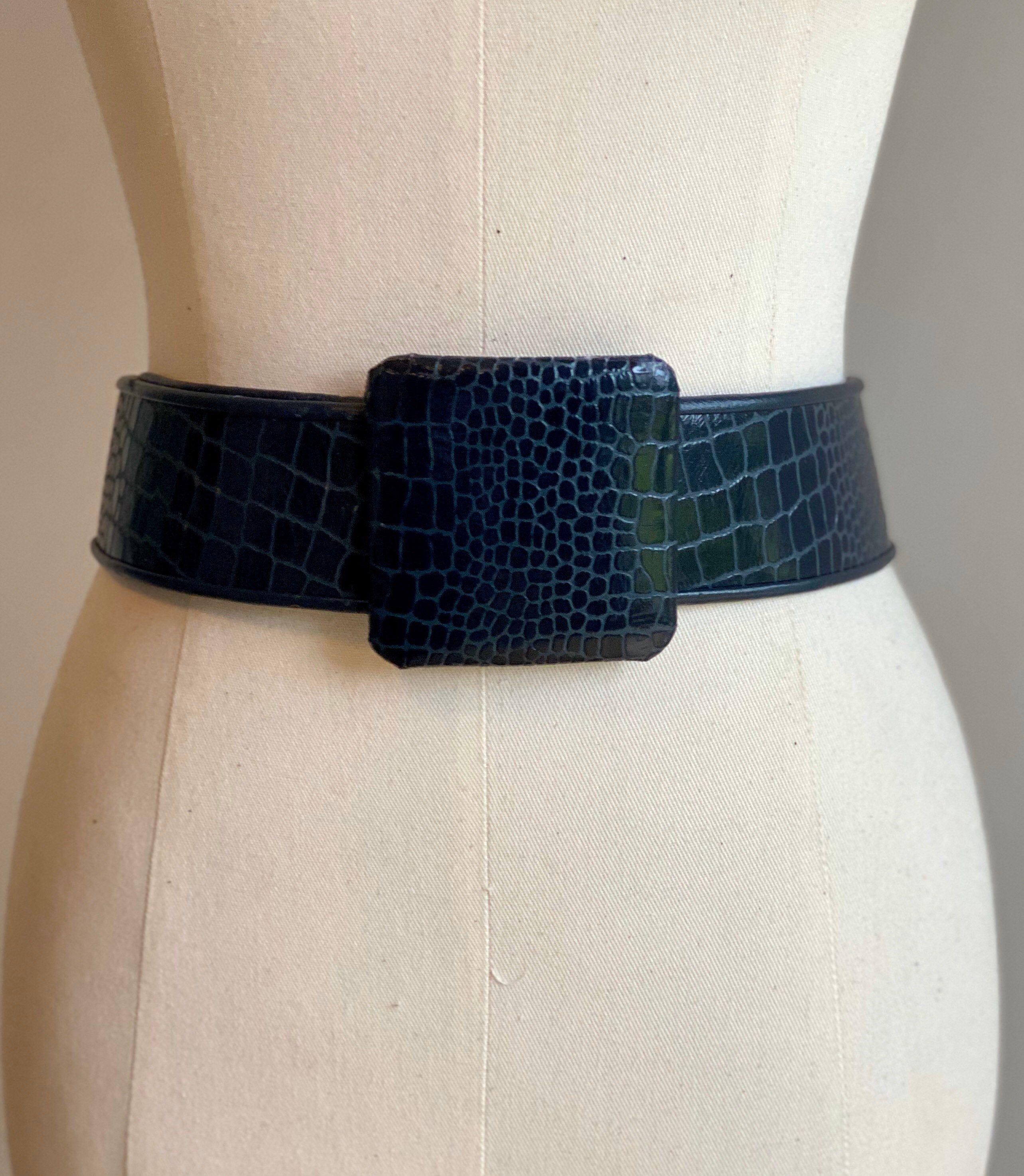 Excited to share the latest addition to my #etsy shop: GALANOS Wide Blue Croc Belt #vintageglam #vintage #80sparty #widebelt #navybelt #leather #crocbelt #goodthingsvintage #galanos