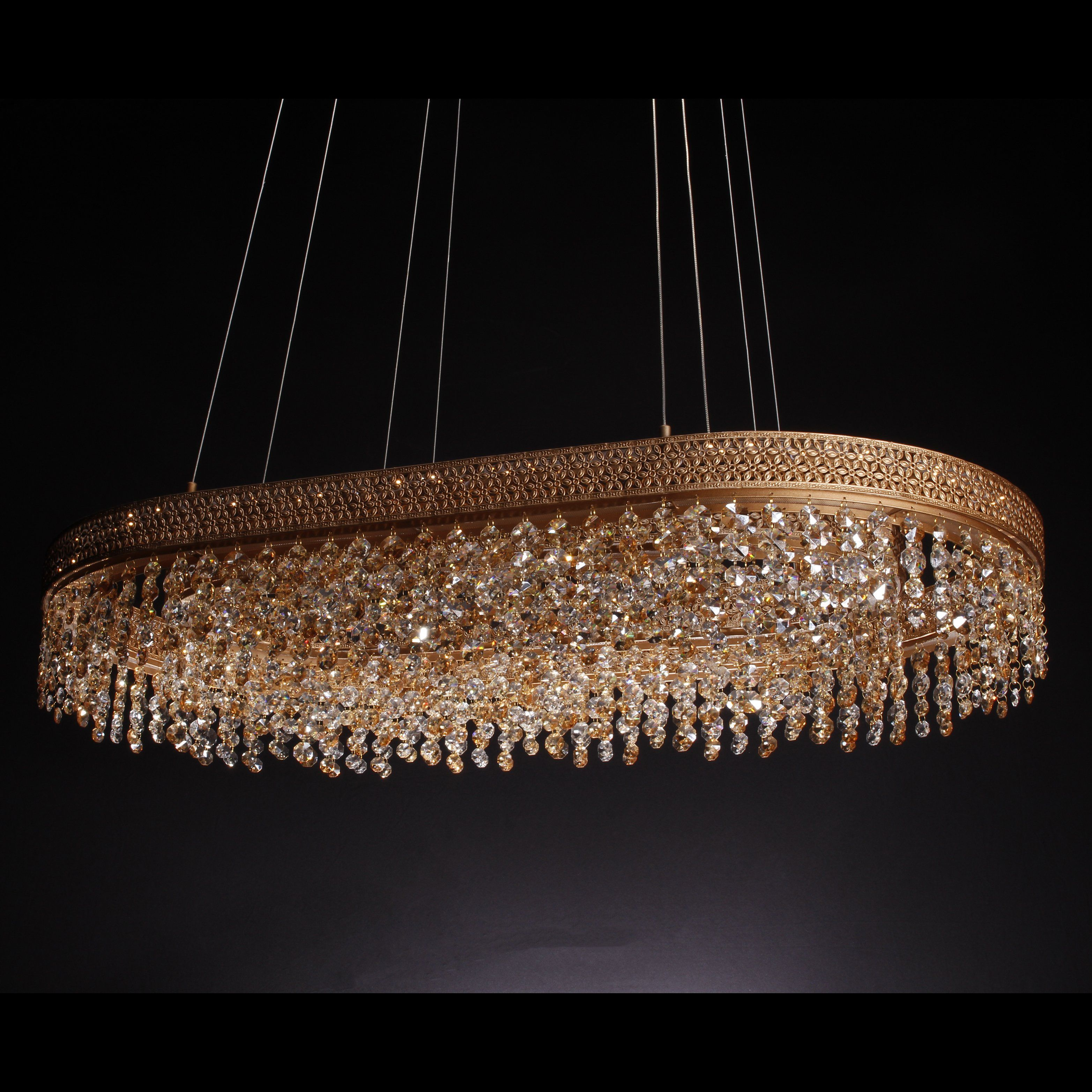 Louvre 2 Tier Oval Crystal Led Chandelier Led Chandelier