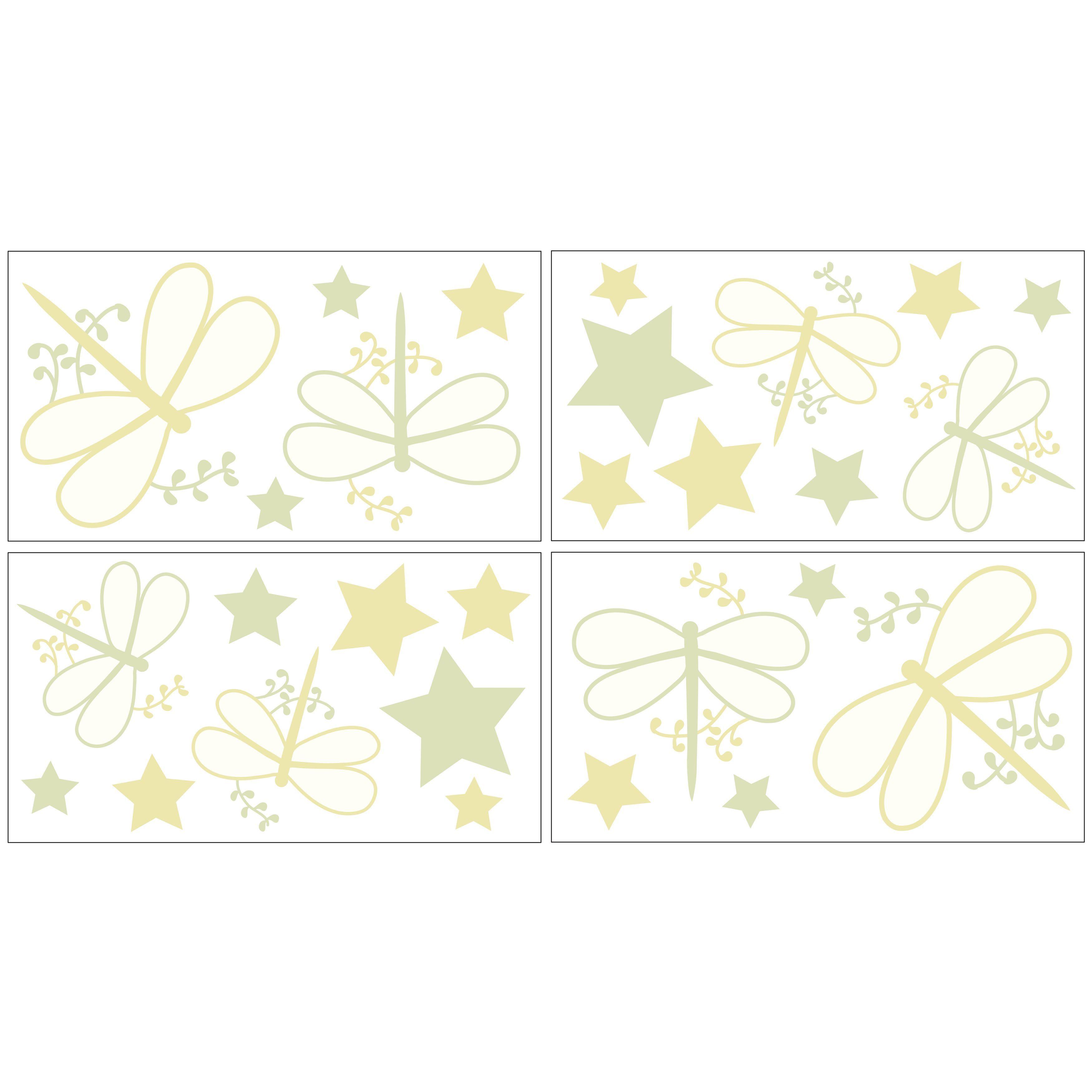 Sweet JoJo Designs Green Dragonfly Dreams Wall Decal Stickers