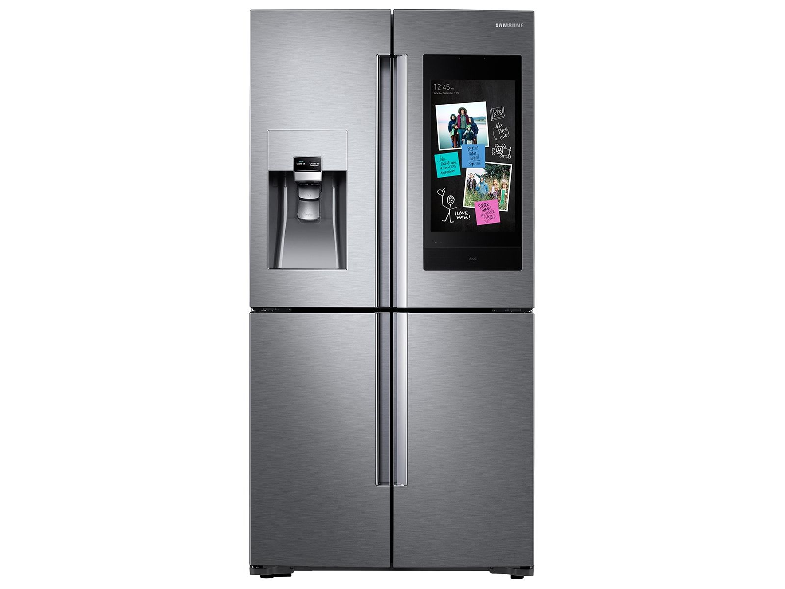 22 Cu Ft Family Hub Counter Depth 4 Door Flex Refrigerator In Stainless Steel In 2020 Refrigerator Counter Depth Stainless Steel Refrigerator