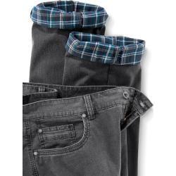 Walbusch Herren Comfort-Jeans Thermo Comfort Fit Grau einfarbig flexibler Bund wärmend Walbusch