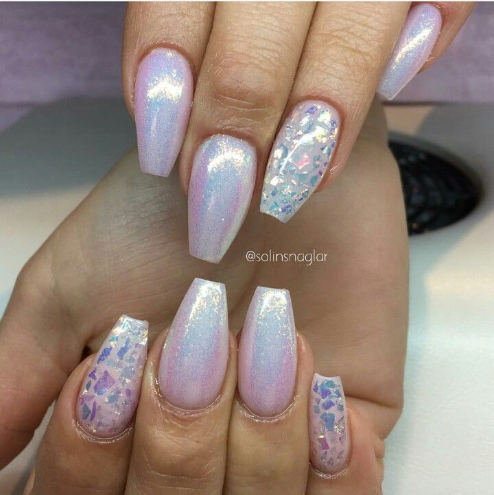 Holographic, iridescent, pearl, coffin shaped nails | Nail art ...